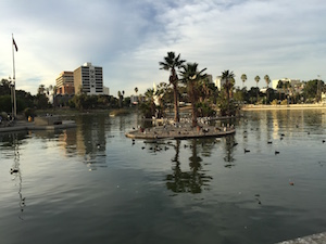 View of beautiful MacArthur Park from 7th & Alvarado near downtown Los Angeles